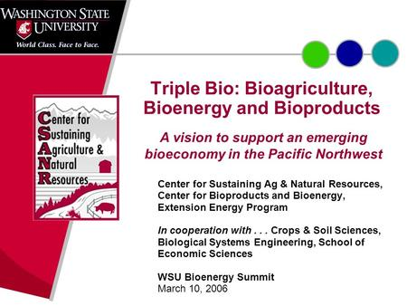 Triple Bio: Bioagriculture, Bioenergy and Bioproducts Center for Sustaining Ag & Natural Resources, Center for Bioproducts and Bioenergy, Extension Energy.