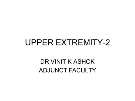 DR VINIT K ASHOK ADJUNCT FACULTY