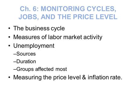 Ch. 6: MONITORING CYCLES, JOBS, AND THE PRICE LEVEL The business cycle Measures of labor market activity Unemployment –Sources –Duration –Groups affected.