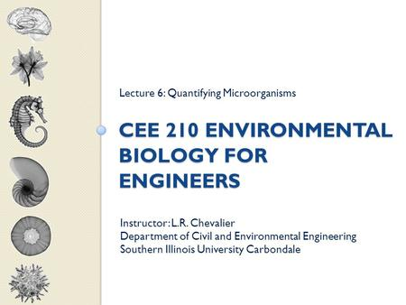 CEE 210 ENVIRONMENTAL BIOLOGY FOR ENGINEERS Lecture 6: Quantifying Microorganisms Instructor: L.R. Chevalier Department of Civil and Environmental Engineering.