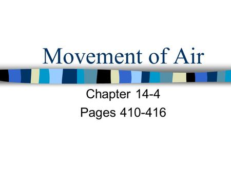 Movement of Air Chapter 14-4 Pages 410-416.