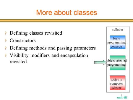 Unit 4II 1 More about classes H Defining classes revisited H Constructors H Defining methods and passing parameters H Visibility modifiers and encapsulation.