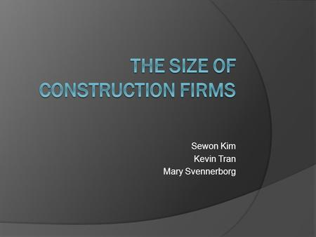 Sewon Kim Kevin Tran Mary Svennerborg. Contents  The size of construction firms  The size of business  The small firm  The medium-sized firm  The.