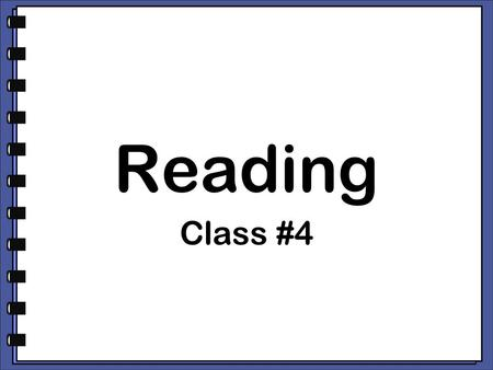 Reading Class #4. I cdnuolt blveiee that I luod aulaclty uesdnatnrd what I was rdanieg. The phaonmneal pweor of the hmuan mnid, aoccdrnig to a rscheearch.
