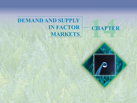 14 DEMAND AND SUPPLY IN FACTOR MARKETS CHAPTER.