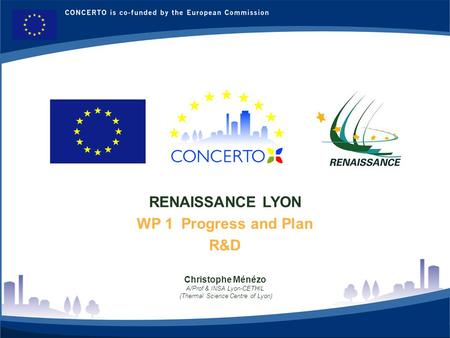 RENAISSANCE : a CONCERTO project financed by the European Commission on the six framework program RENAISSANCE - LYON - FRANCE 1 RENAISSANCE LYON WP 1 Progress.