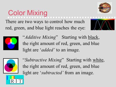 "Color Mixing There are two ways to control how much red, green, and blue light reaches the eye: ""Additive Mixing"" Starting with black, the right amount."