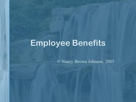 Employee Benefits © Nancy Brown Johnson, 2005 Typical Benefits Applied Signal Technology - Employee BenefitsApplied Signal Technology - Employee Benefits.