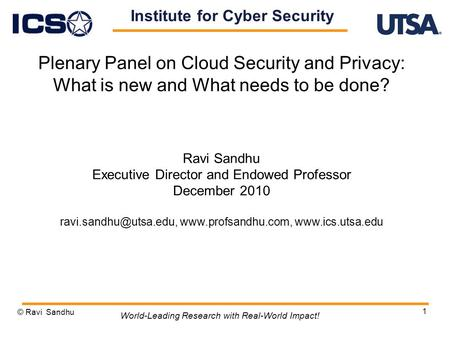 1 Plenary Panel on Cloud Security and Privacy: What is new and What needs to be done? Ravi Sandhu Executive Director and Endowed Professor December 2010.