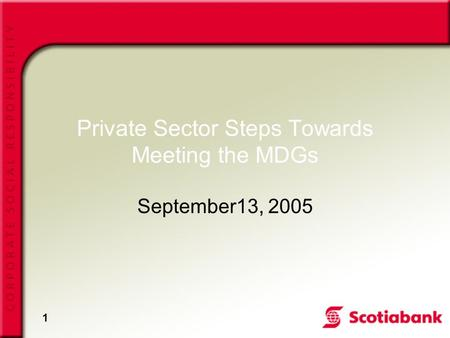 1 Private Sector Steps Towards Meeting the MDGs September13, 2005.