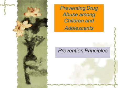 Preventing Drug Abuse among Children and Adolescents Prevention Principles.
