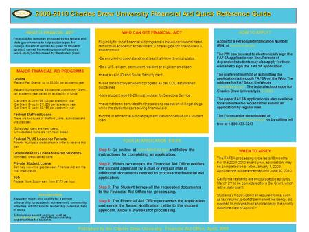 2009-2010 Charles Drew University Financial Aid Quick Reference Guide WHAT IS FINANCIAL AID? Financial Aid is money provided by the federal and state governments.