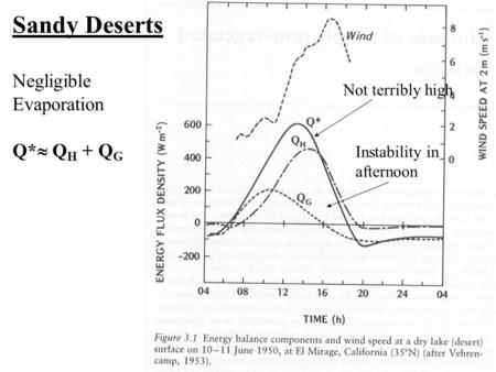 Sandy Deserts Negligible Evaporation Q*  Q H + Q G Not terribly high Instability in afternoon.