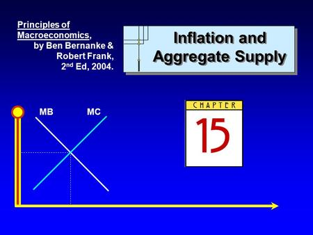 MBMC Inflation and Aggregate Supply Principles of Macroeconomics, by Ben Bernanke & Robert Frank, 2 nd Ed, 2004.