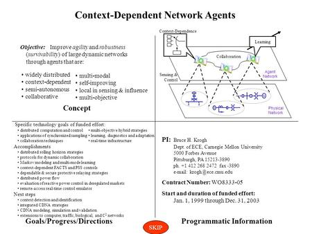 Context-Dependent Network Agents Specific technology goals of funded effort: distributed computation <strong>and</strong> <strong>control</strong> applications of synchronized sampling.