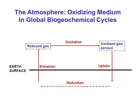 The Atmosphere: Oxidizing Medium In Global Biogeochemical Cycles EARTH SURFACE Emission Reduced gas Oxidized gas/ aerosol Oxidation Uptake Reduction.