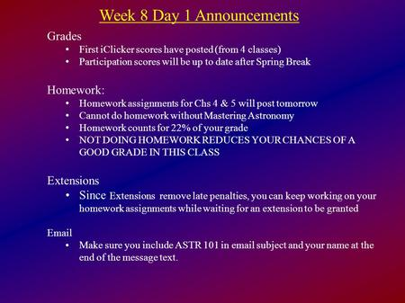 Week 8 Day 1 Announcements