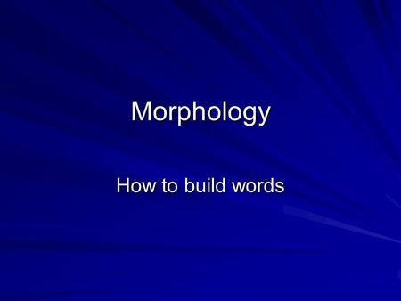 Morphology How to build words. What is a morpheme? Morphology is the organization of morphemes into words. –The morpheme is the smallest meaningful (invested.