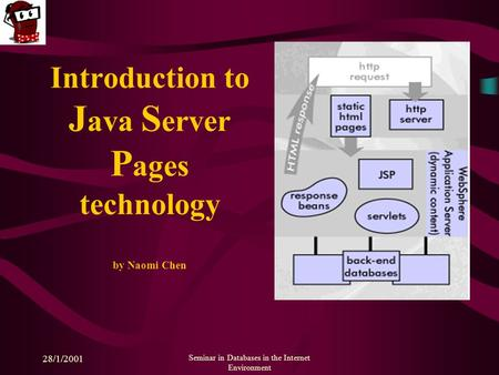 28/1/2001 Seminar in Databases in the Internet Environment Introduction to J ava S erver P ages technology by Naomi Chen.