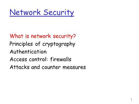 1 Network Security What is network security? Principles of cryptography Authentication Access control: firewalls Attacks and counter measures.