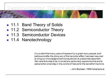 Semiconductor Theory and Devices