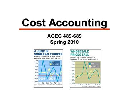 Cost Accounting AGEC 489-689 Spring 2010. Managerial Cost Concepts 1.Direct materials 1.Direct materials: raw materials physically associated with the.