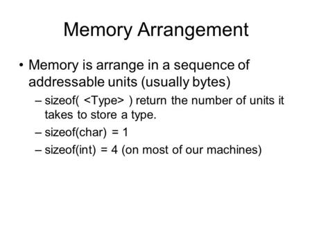 Memory Arrangement Memory is arrange in a sequence of addressable units (usually bytes) –sizeof( ) return the number of units it takes to store a type.