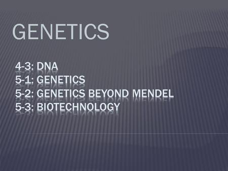 GENETICS.  What is DNA?  Hereditary material that contains information for an organism's growth and function  Chemical code—like an alphabet  Stands.