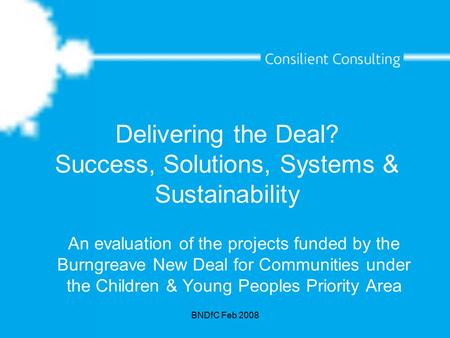 BNDfC Feb 2008 Delivering the Deal? Success, Solutions, Systems & Sustainability An evaluation of the projects funded by the Burngreave New Deal for Communities.