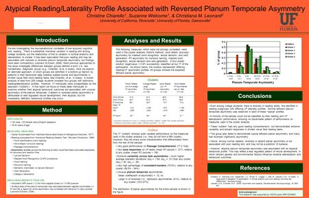 Atypical Reading/Laterality Profile Associated with Reversed Planum Temporale Asymmetry Christine Chiarello 1, Suzanne Welcome 1, & Christiana M. Leonard.