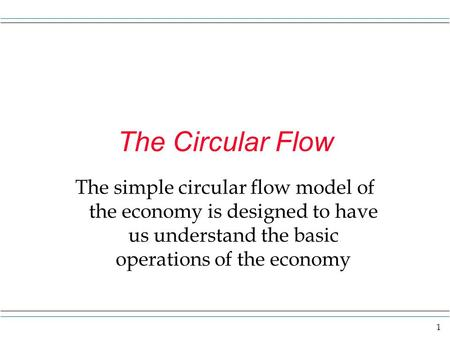 1 The Circular Flow The simple circular flow model of the economy is designed to have us understand the basic operations of the economy.