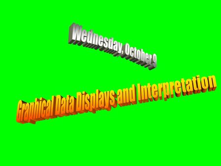 Graphical Data Displays and Interpretation Wednesday, October 9.