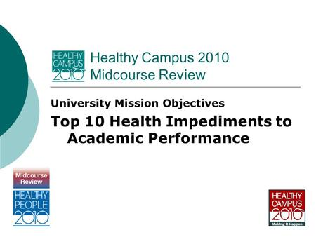 Healthy Campus 2010 Midcourse Review University Mission Objectives Top 10 Health Impediments to Academic Performance.