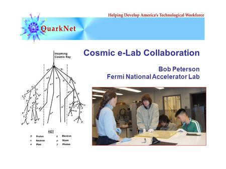 Cosmic e-Lab Collaboration Bob Peterson Fermi National Accelerator Lab.