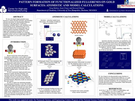ABSTRACT INTRODUCTION CONCLUSIONS PATTERN FORMATION OF FUNCTIONALIZED FULLERENES ON GOLD SURFACES: ATOMISTIC AND MODEL CALCULATIONS Greg Bubnis, Sean Cleary.