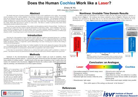 Does the Human Cochlea Work like a Laser? Emery M. Ku ISVR, University of Southampton, UK  Abstract The sharply.