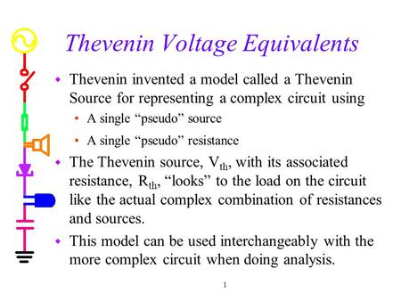 "1 Thevenin Voltage Equivalents w Thevenin invented a model called a Thevenin Source for representing a complex circuit using A single ""pseudo"" source A."