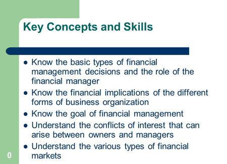 Chapter 1: Outline Corporate Finance and the Financial Manager