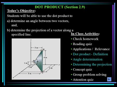 DOT PRODUCT (Section 2.9) Today's Objective: