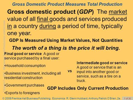 Chapter 7: GDP: Measuring Total Production and Income © 2008 Prentice Hall Business Publishing Economics R. Glenn Hubbard, Anthony Patrick O'Brien, 2e.
