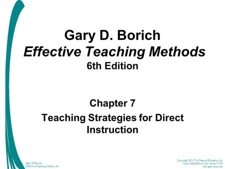 Gary D Borich Effective Teaching Methods 6th Edition Ppt Video