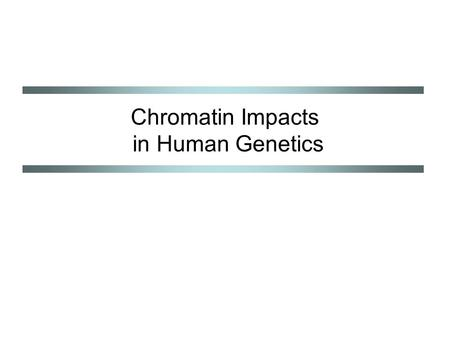 Chromatin Impacts in Human Genetics. Chromatin-mediated influences Gametic (parental) imprinting Regulation of gene expression Developmental programming.