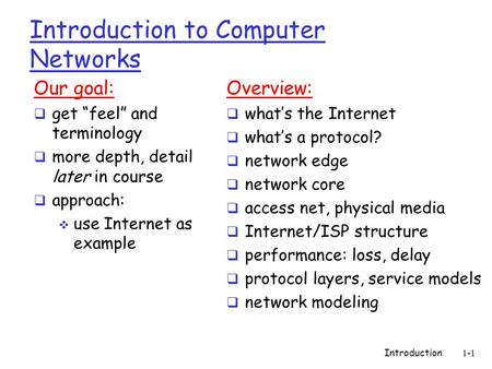 "Introduction1-1 Introduction to Computer Networks Our goal:  get ""feel"" and terminology  more depth, detail later in course  approach:  use Internet."