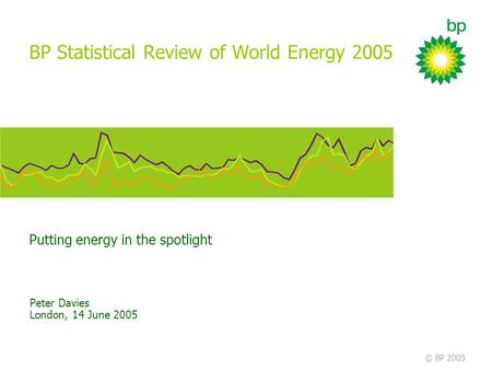 Putting energy in the spotlight © BP 2005 BP Statistical Review of World Energy 2005 Peter Davies London, 14 June 2005.