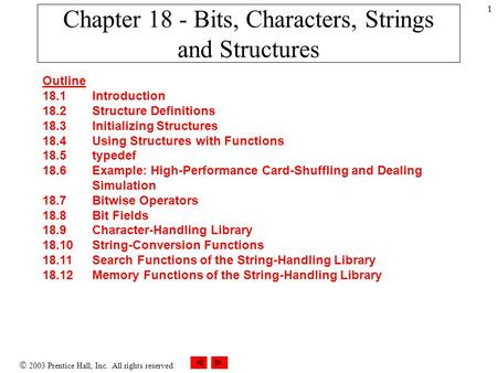  2003 Prentice Hall, Inc. All rights reserved. 1 Chapter 18 - Bits, Characters, Strings and Structures Outline 18.1 Introduction 18.2 Structure Definitions.