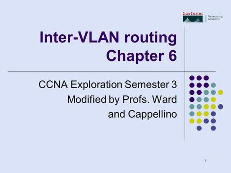 1 Inter-VLAN routing Chapter 6 CCNA Exploration Semester 3 Modified by Profs. Ward and Cappellino.