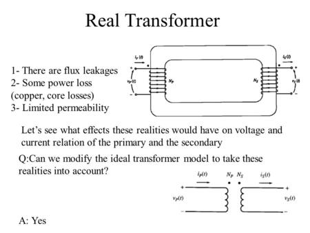 Real Transformer 1- There are flux leakages 2- Some power loss (copper, core losses) 3- Limited permeability Let's see what effects these realities would.