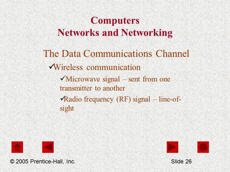 Computers Networks and Networking The Data Communications Channel Wireless communication Microwave signal – sent from one transmitter to another Radio.