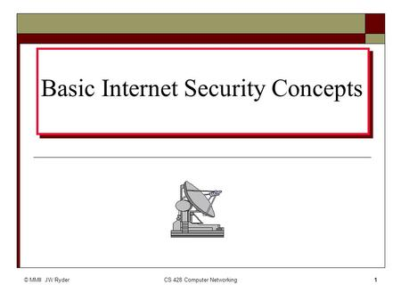© MMII JW RyderCS 428 Computer Networking1 Basic Internet Security Concepts.