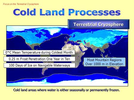 Focus on the Terrestrial Cryosphere Cold land areas where water is either seasonally or permanently frozen. Terrestrial Cryosphere 0.25 m Frost Penetration.
